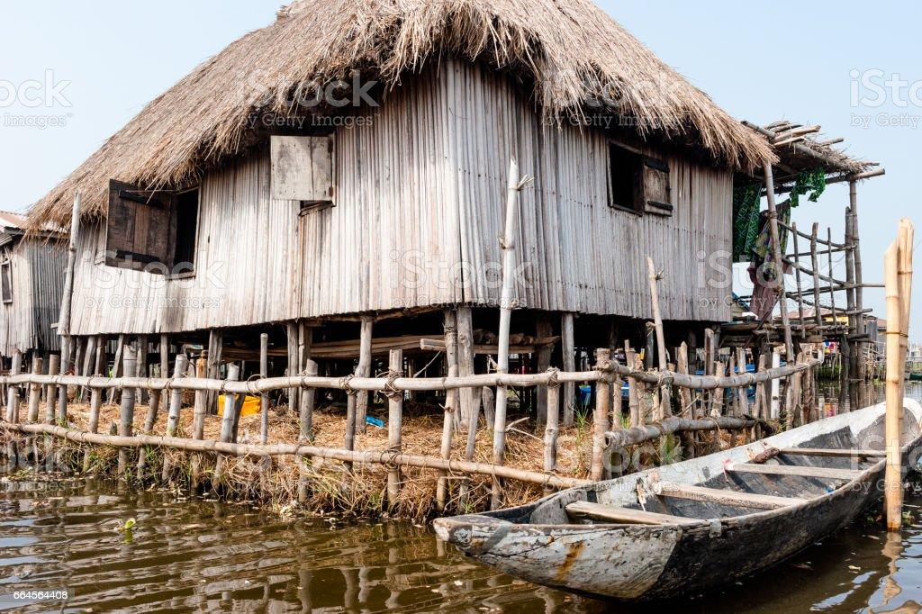 Ganvie, Lake Nokoue, Benin. Largest stilted village in Africa stock photo