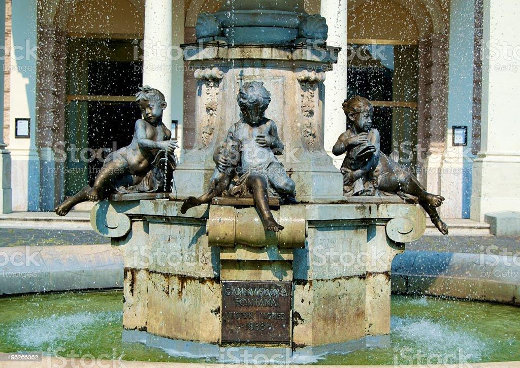 Ganymede fountain in Bratislava stock photo