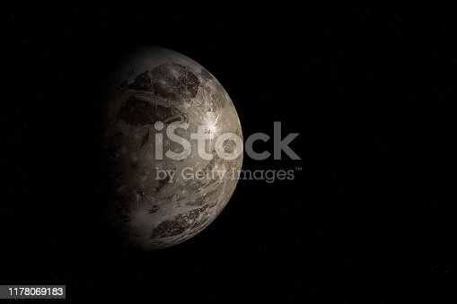 Digitally generated photograph of the Ganymede, the moon of Jupiter.