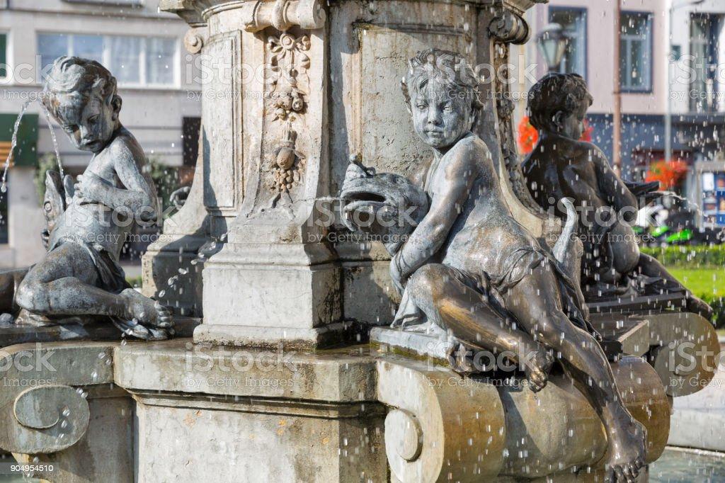 Ganymede's Fountain in Bratislava, Slovakia. stock photo