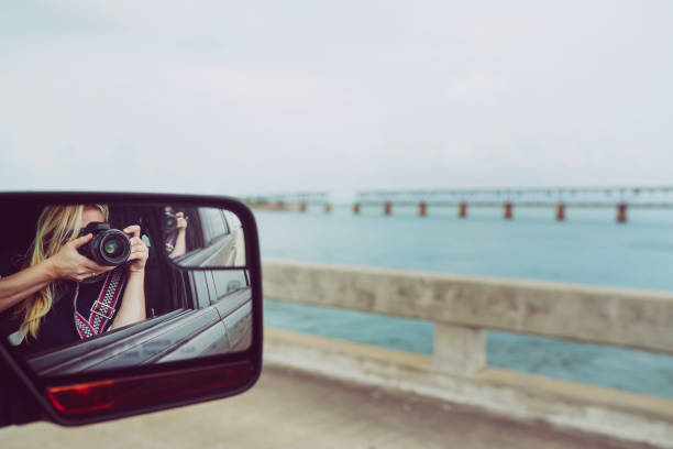 Gap in the bridge , Florida Keys road trip taking pictures out the window tourist stock photo