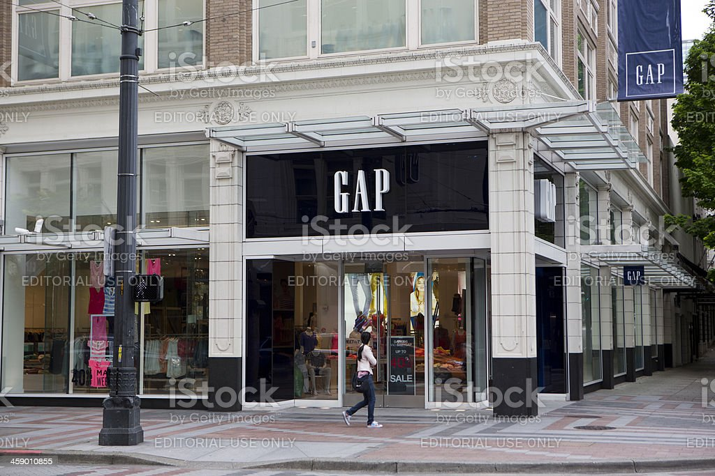 Gap Store Downtown Seattle Retail Shopping District stock photo