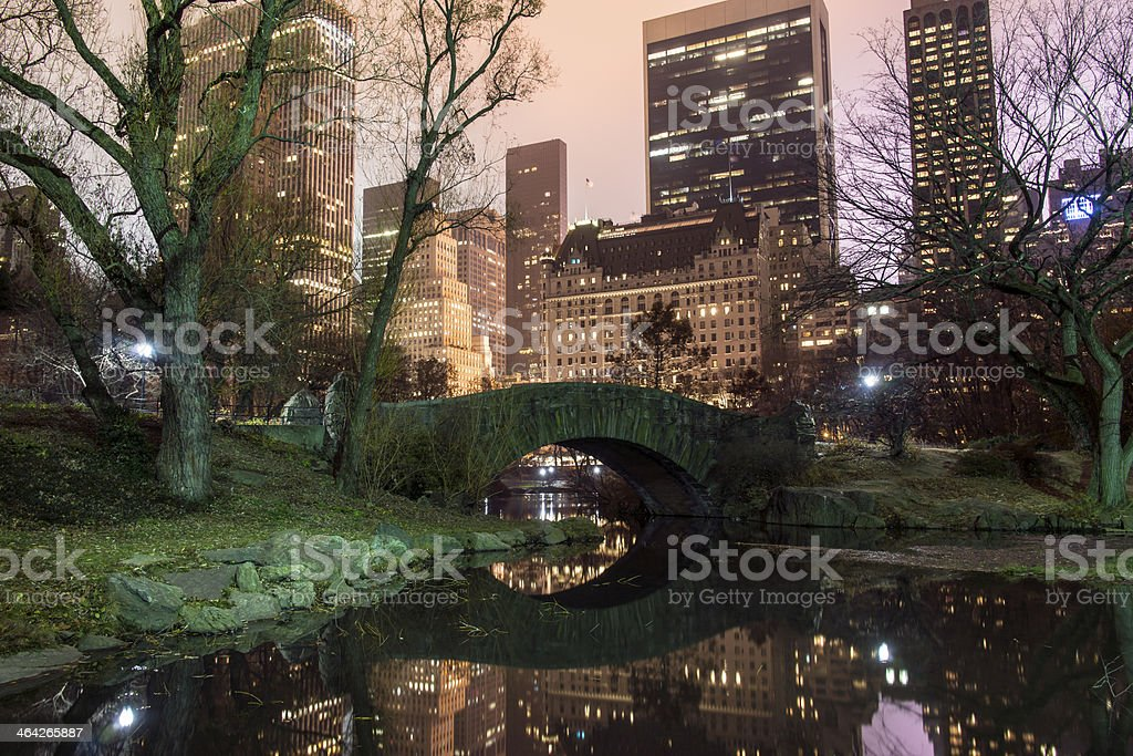 Gapstow Bridge at night stock photo