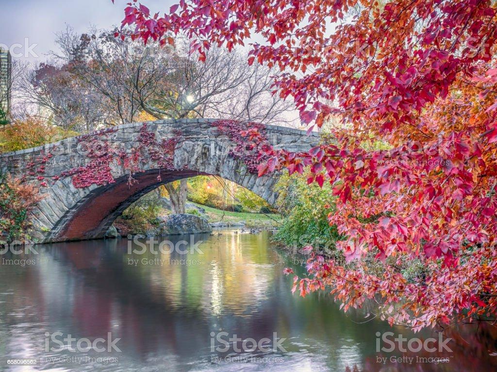 Gapstow bridge Central Park, New York City autumn royalty-free stock photo