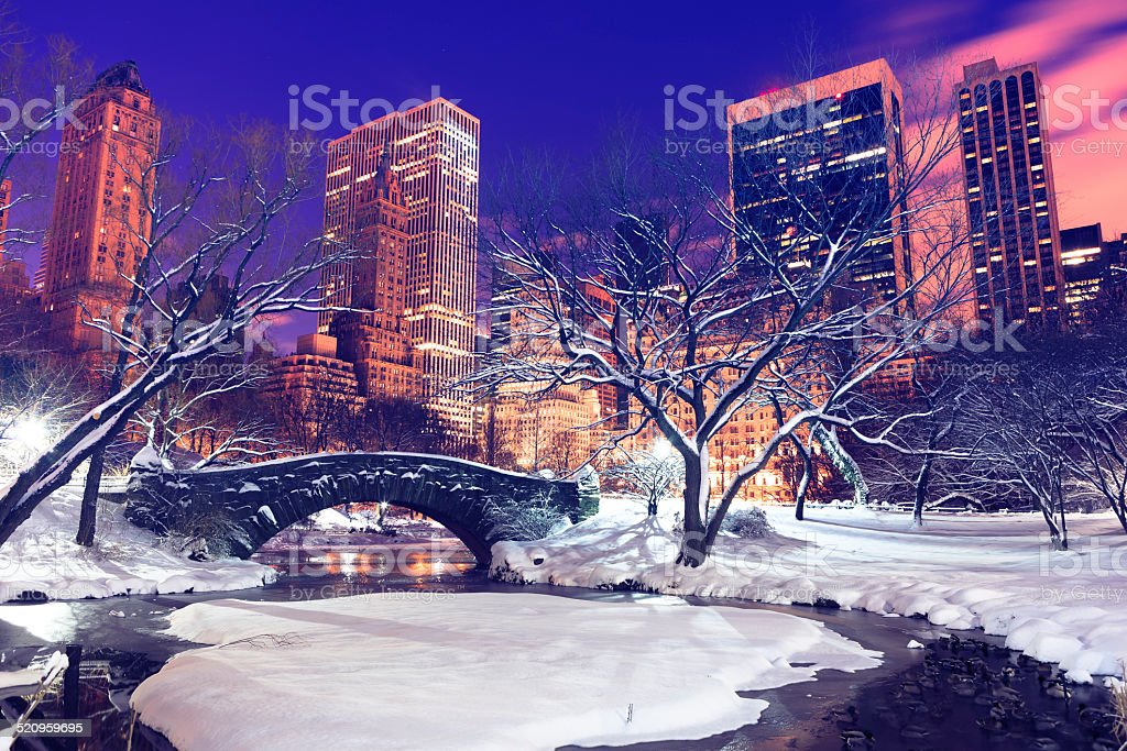 Gapstow bridge in Central park by night , New York City stock photo