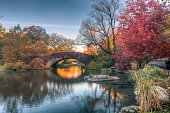 Gapstow Bridge in Central Park  in late autumn early in the morning