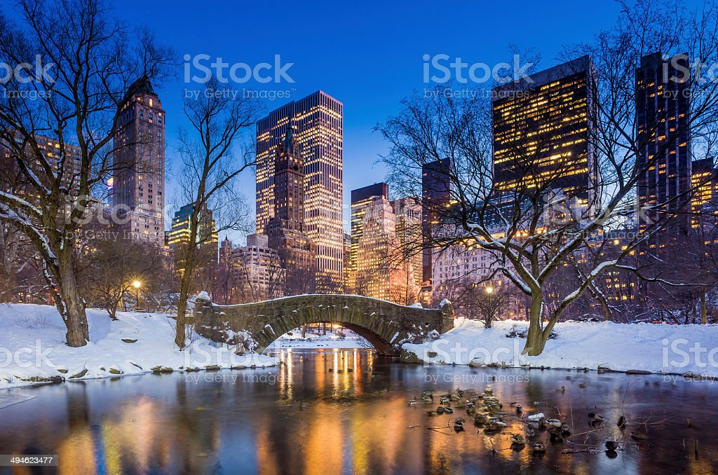 Gapstow bridge in winter, Central Park stock photo