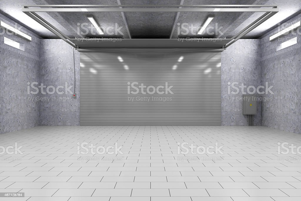 Garage 3D Interior with Closed Roller Door stock photo