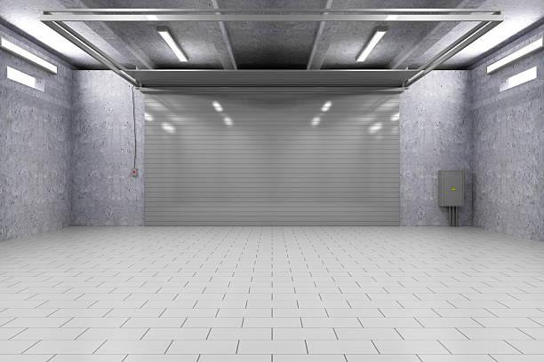 駐車場 3 D のインテリア、ローラードアを閉鎖いたします。 ストックフォト