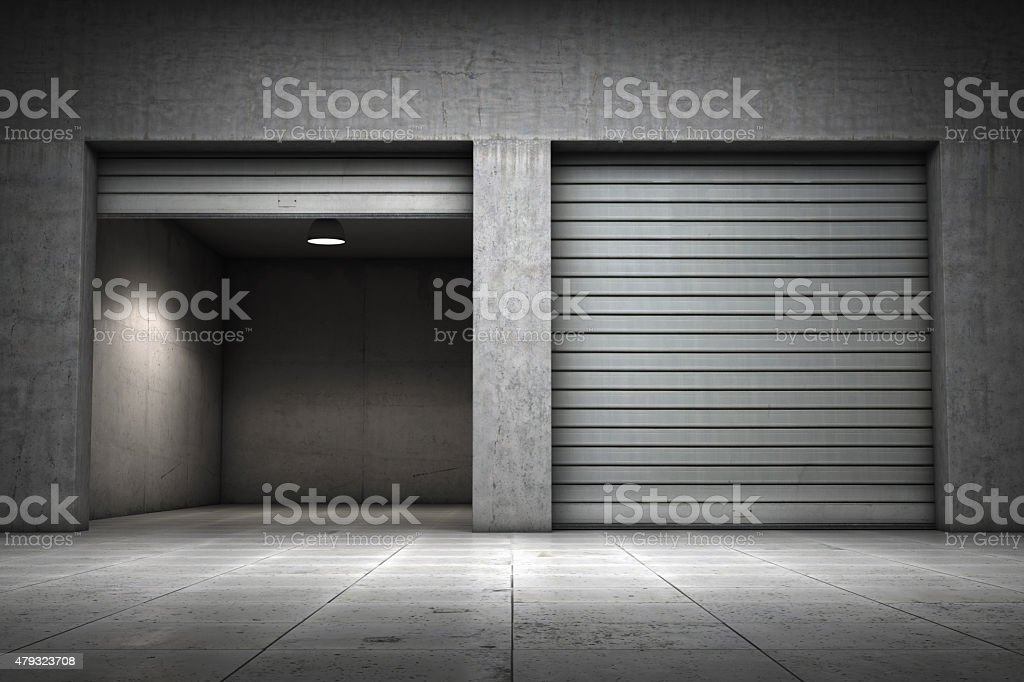 Garage building made concrete stock photo