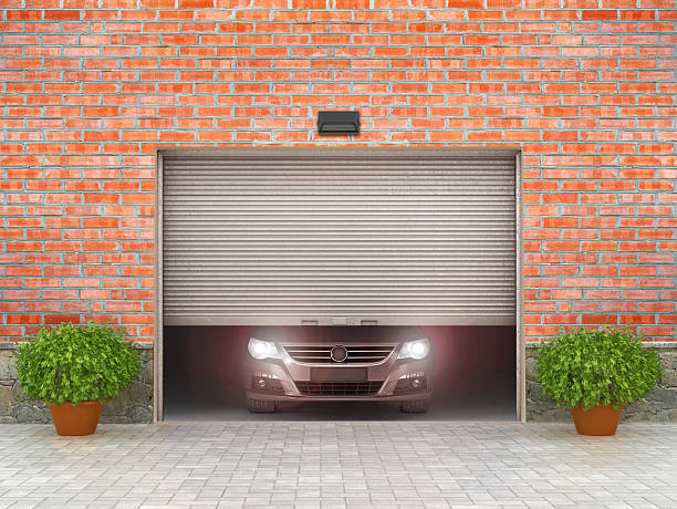 Garage concept. Garage doors and tire around. 3d illustration stock photo