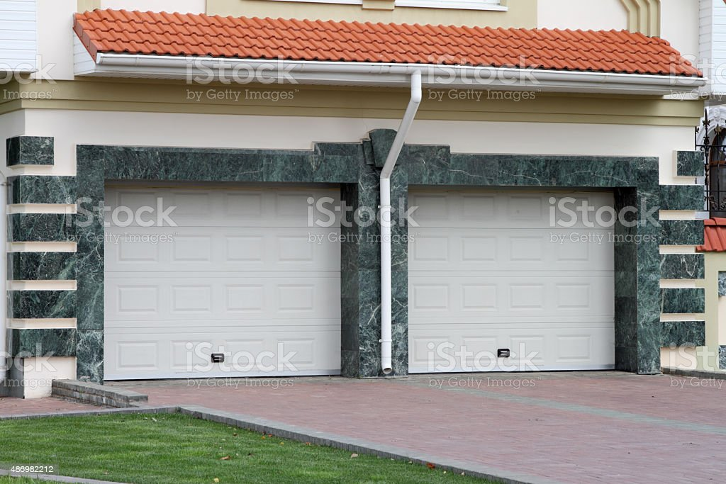 Garage door for 2 cars stock photo