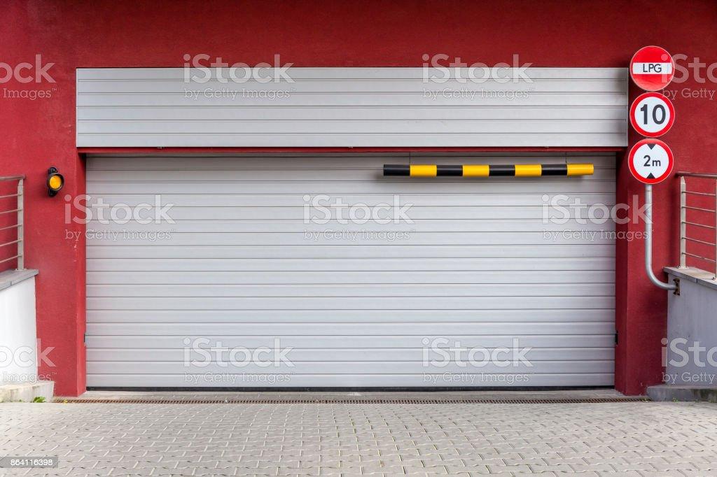 Garage door in apartment building royalty-free stock photo