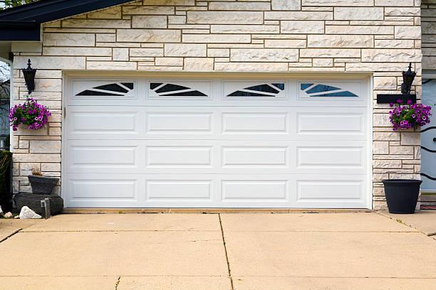garage door - garagentor mit tür stock-fotos und bilder