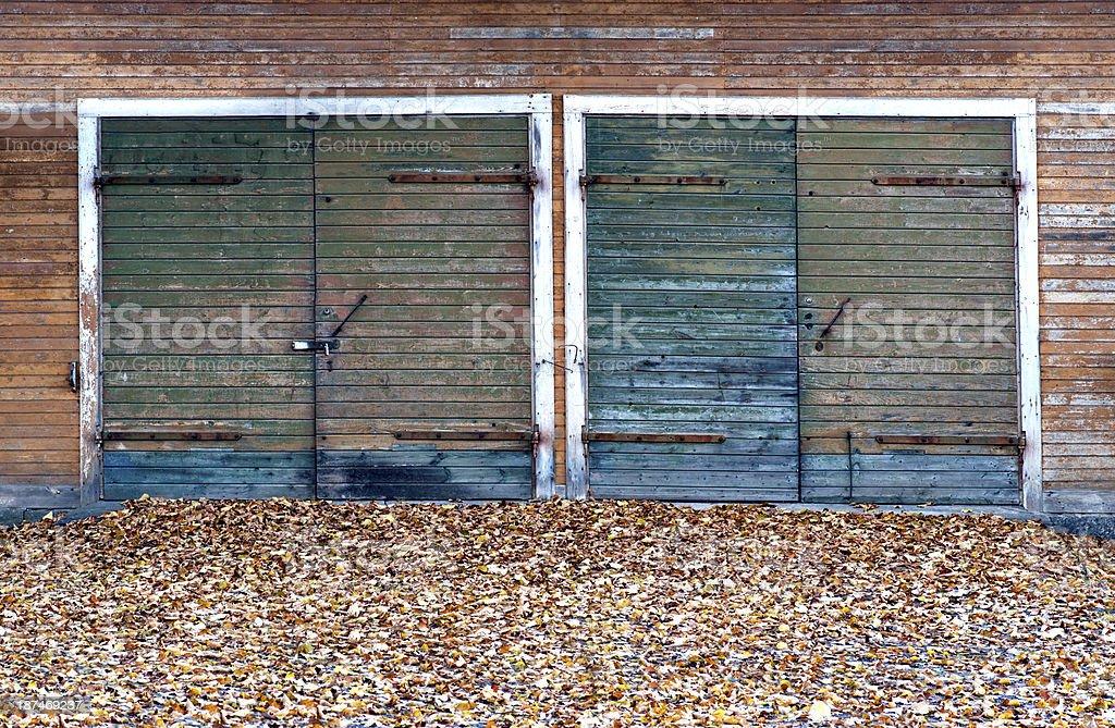 Garage doors  in autumn royalty-free stock photo