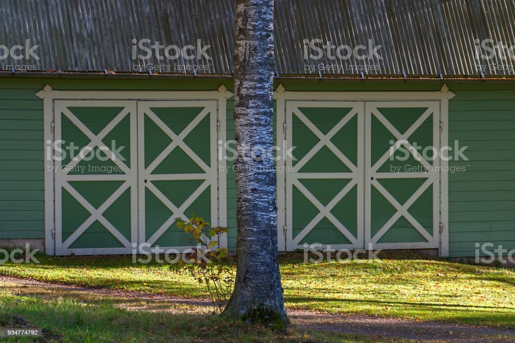 Garage doors on a shed stock photo