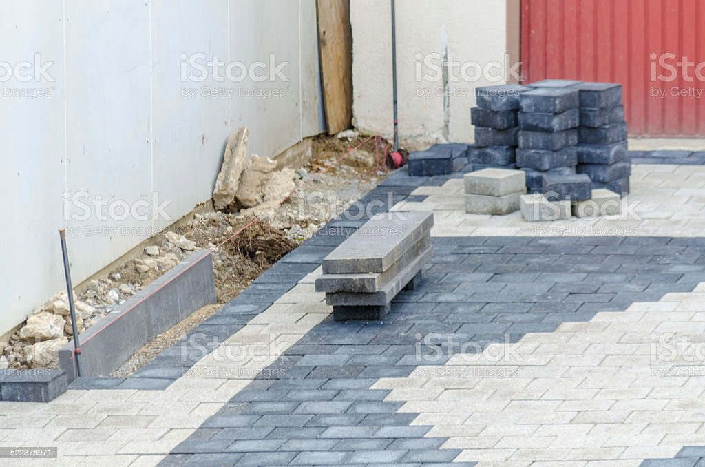 Garage driveway paving stones stock photo