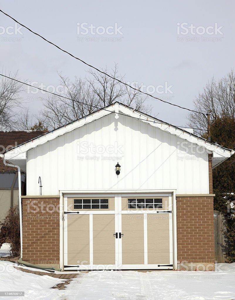 Garage in winter stock photo