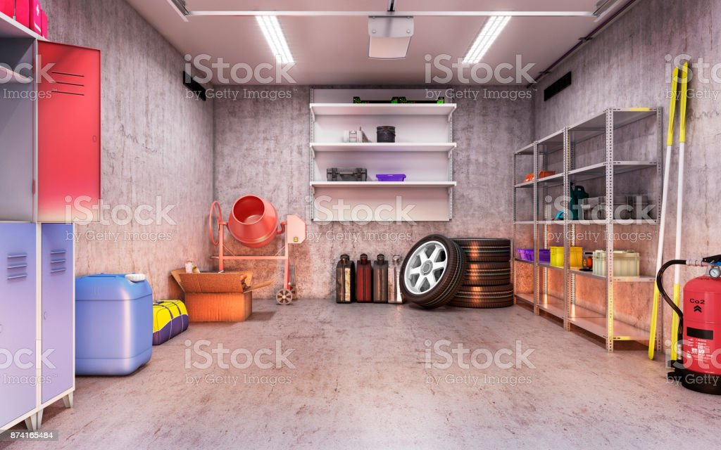 garage interior stock photo