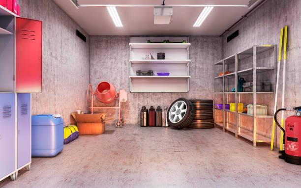 garage-interieur - carport stock-fotos und bilder