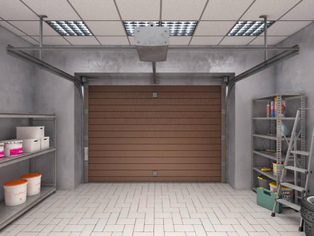 Garage interior with roller door, look from inside stock photo