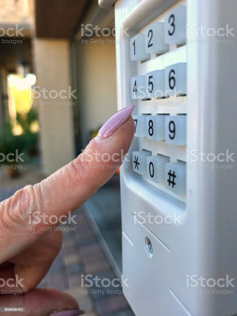 Garage key panel stock photo