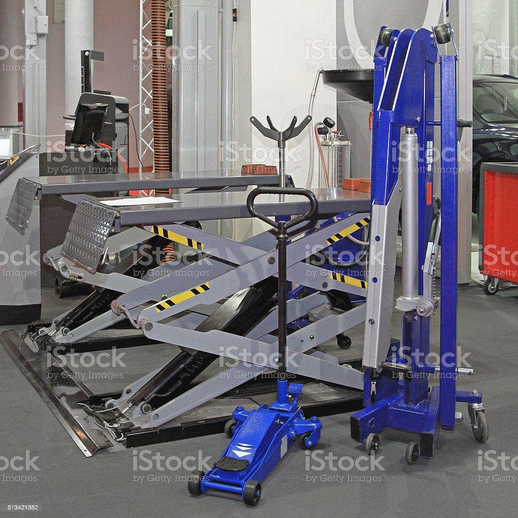 Garage Lift stock photo