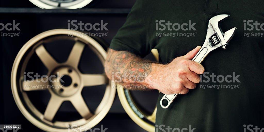 Garage Motor Maintenance Mechanic Fixing Spare Concept stock photo