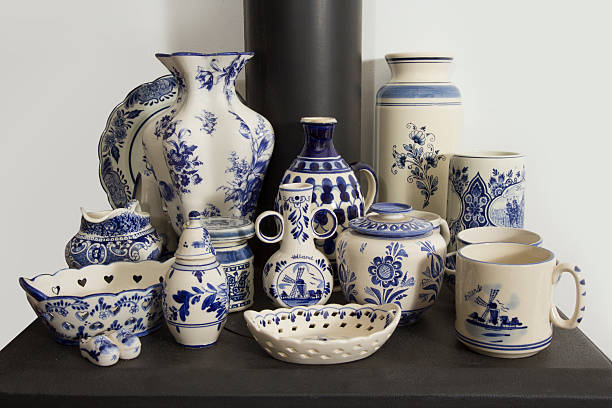 Garage sale collection Blue and White stock photo