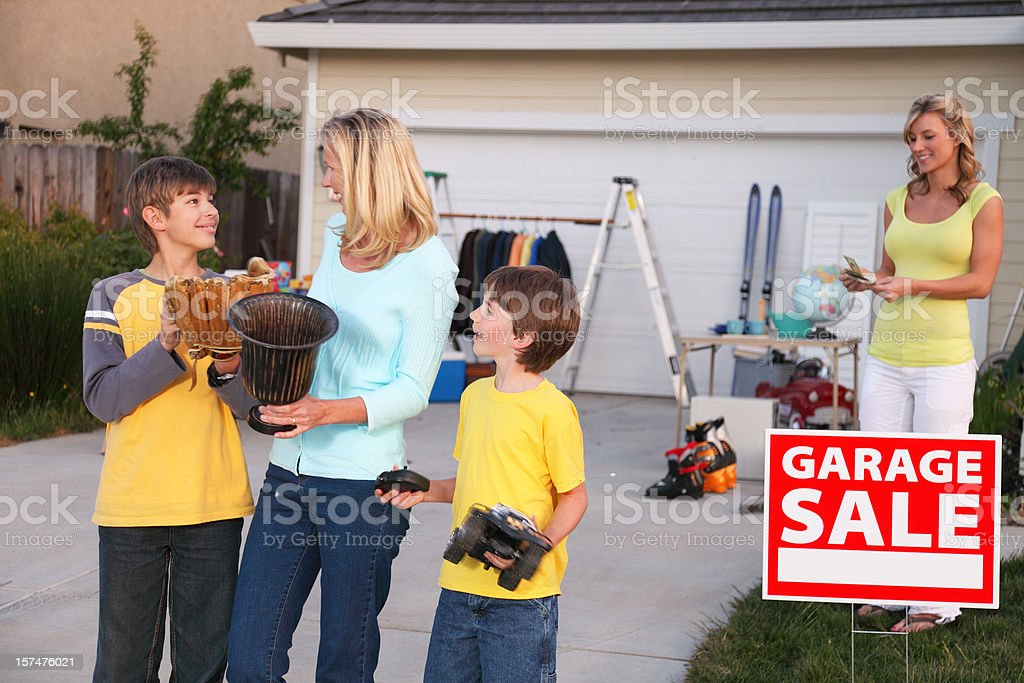 Garage Sale Customers royalty-free stock photo