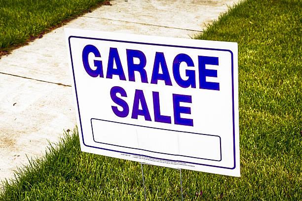 Garage sale sign in Fort Gratiot MI stock photo