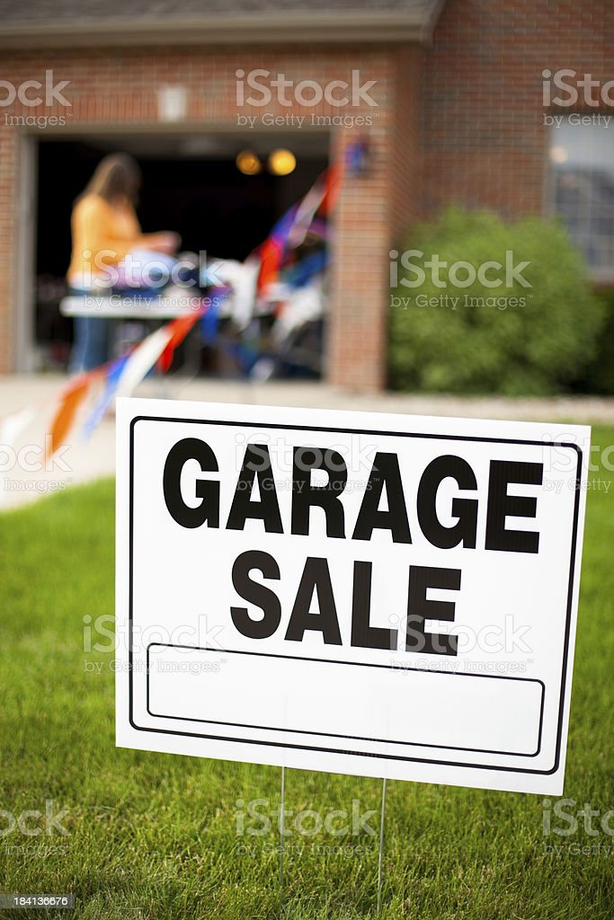 Garage Sale Sign with Girl Shopping royalty-free stock photo