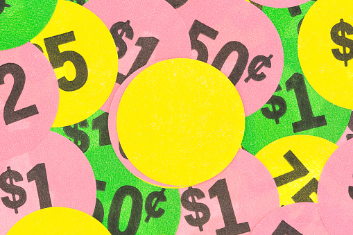 Garage Sale Stickers With Yellow Blank In Center Stock