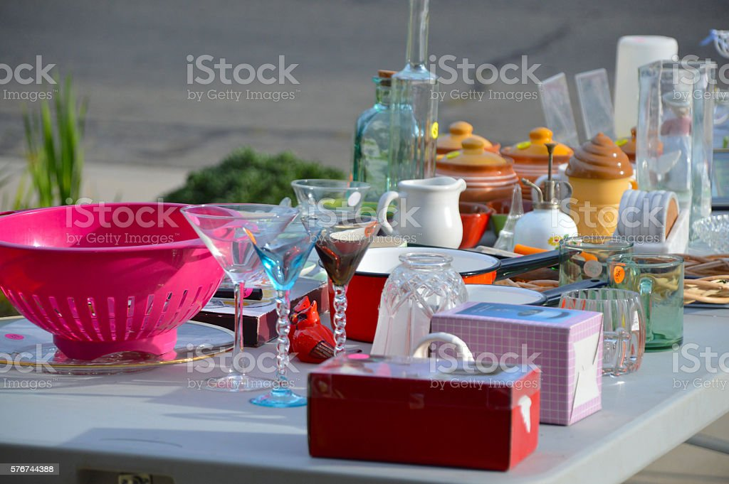 Garage sale, yard sale stock photo