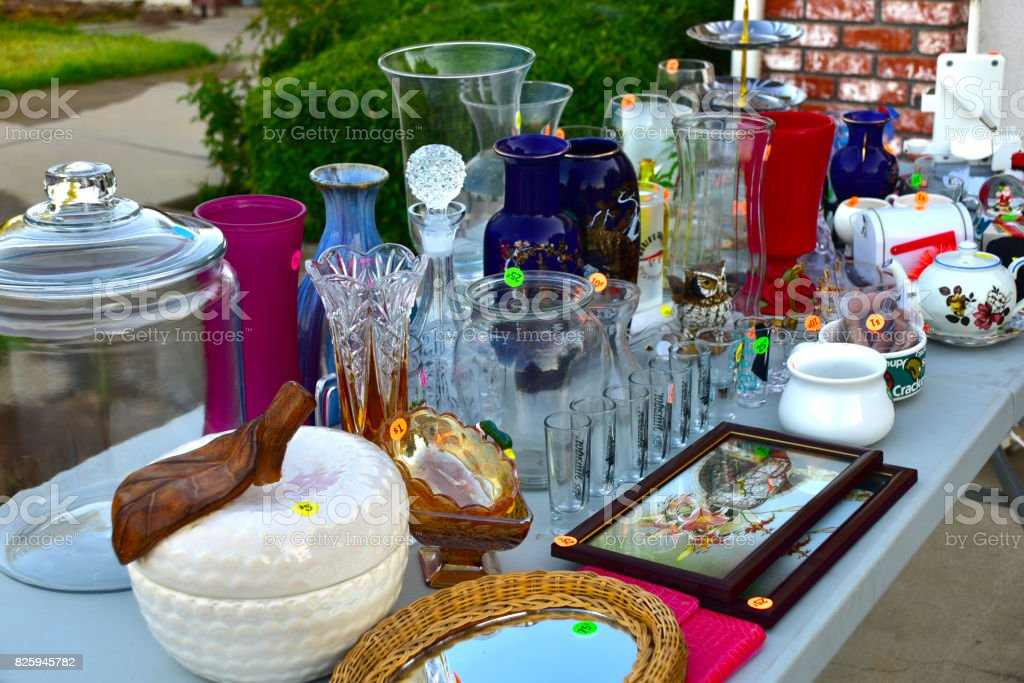 Garage sale yard sale stock photo