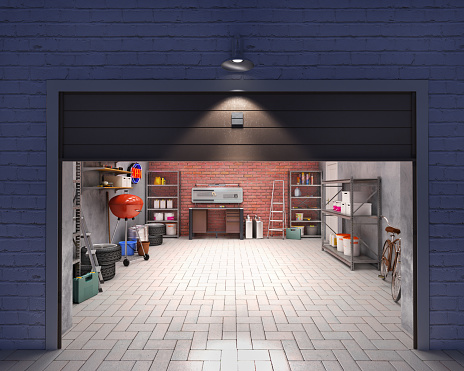 Garage with open door, look outside at night, 3d illustration
