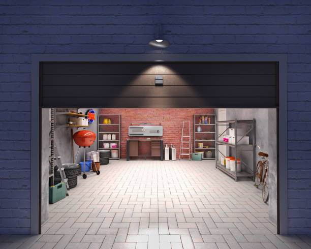 Garage with open door, look outside at night, 3d illustration stock photo