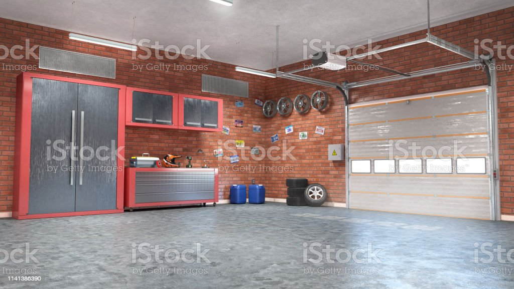 Garage With Rolling Gate Interior 3d Illustration Stock