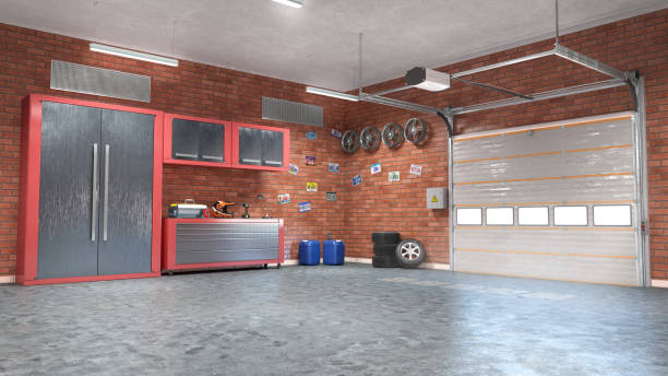 Garage with rolling gate interior. 3d illustration stock photo