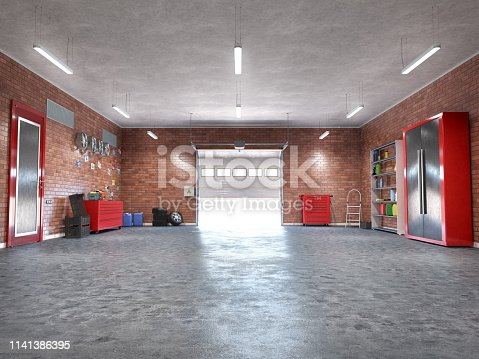 Garage with rolling gate interior. 3d illustration