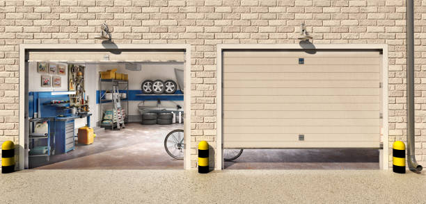 Garage with two roller doors, look outside, 3d illustration stock photo