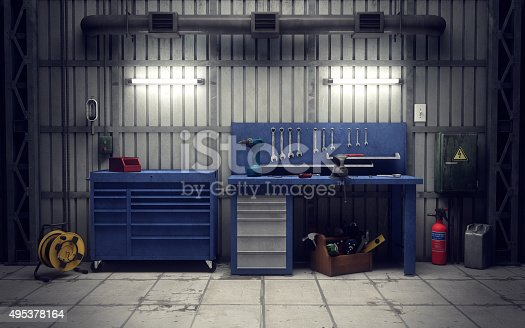 Garage workshop with tools & equipment