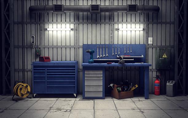 garage-workshop. 3 d abbildung - autowerkstatt stock-fotos und bilder