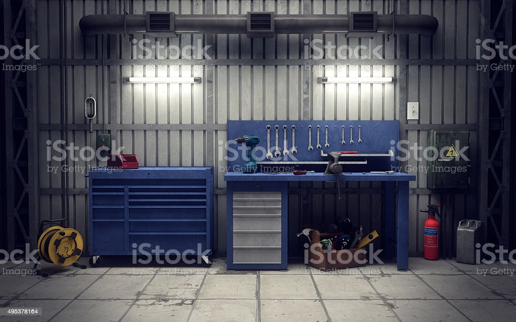 Garage workshop. 3d rendering stock photo