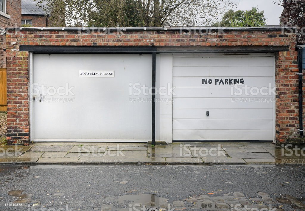 Garages with No Parking Signs-Click for related images royalty-free stock photo