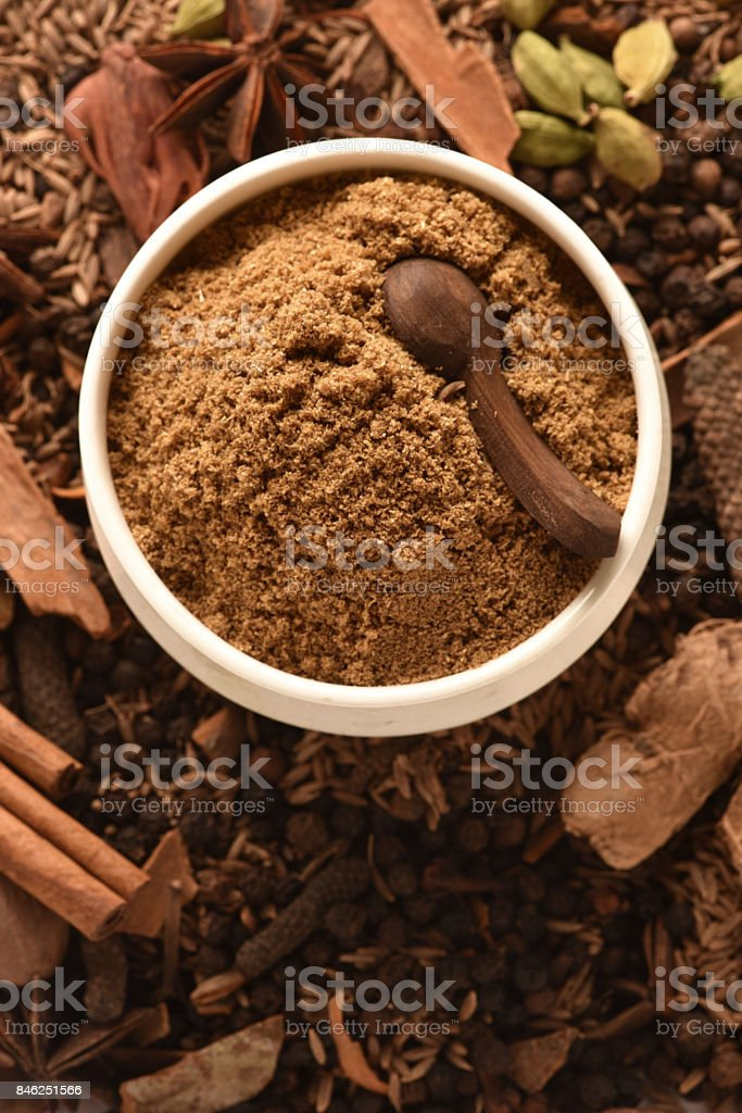 Garam Masala Garam Masala whole and powder Anise Stock Photo