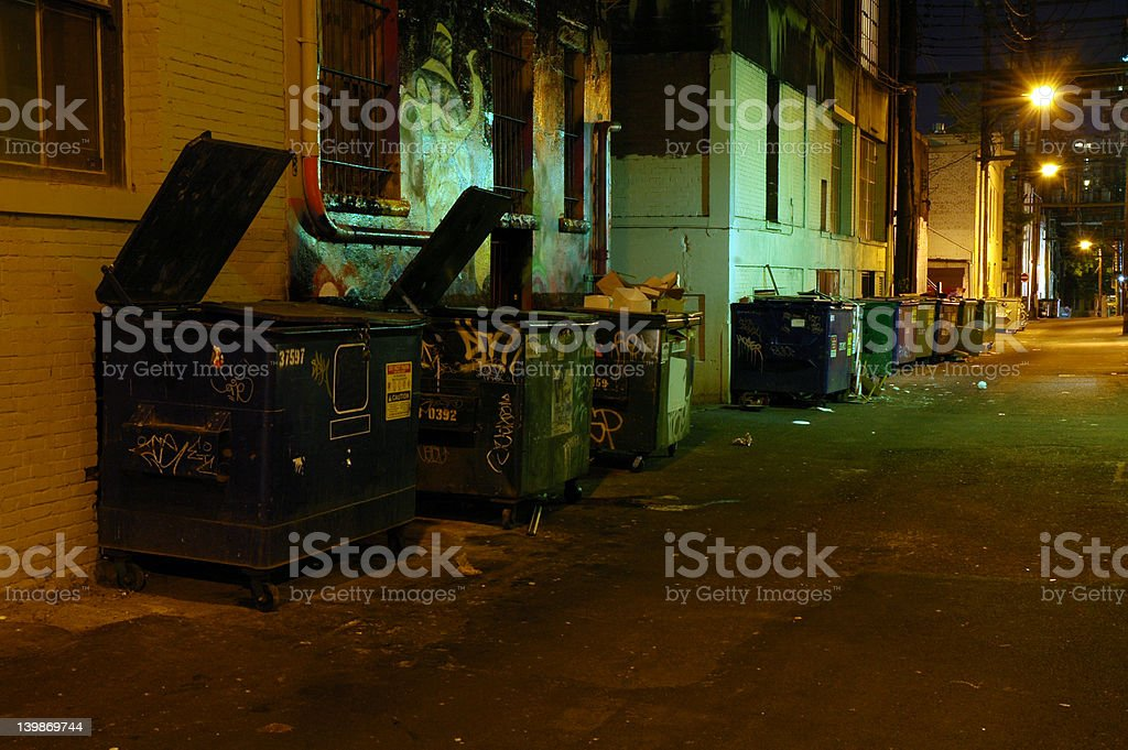 Garbage Alley at Night stock photo