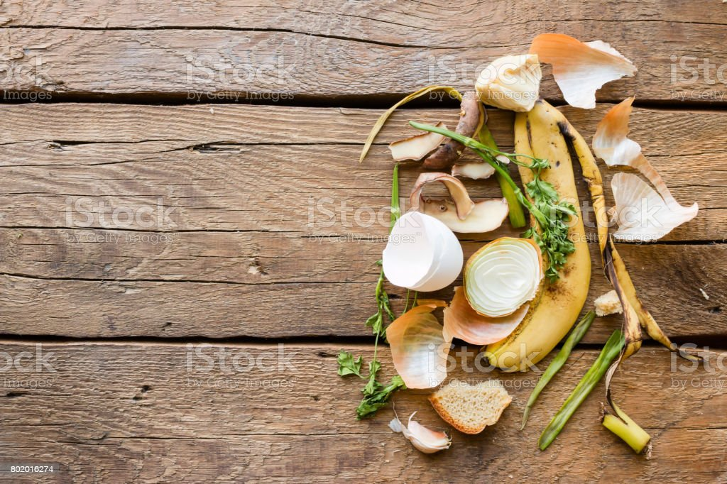 Garbage and food waste on a wooden background stock photo