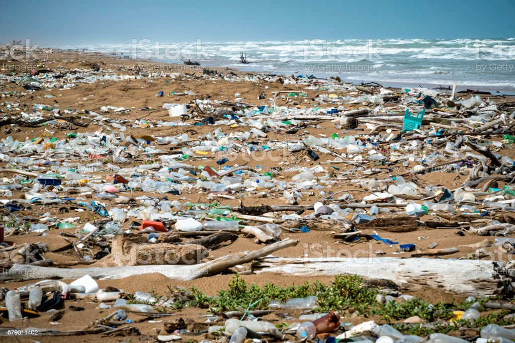 Garbage and pollution on a Tropical beach stock photo