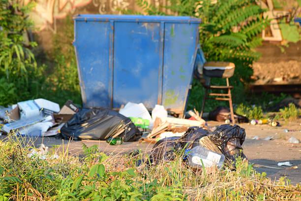 garbage around garbage bin – Foto